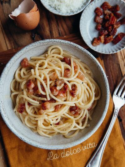 spaghetti alla carbonara recette