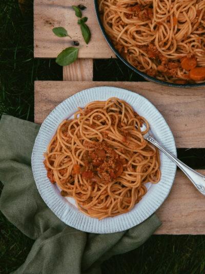 spaghetti ragù végétarien