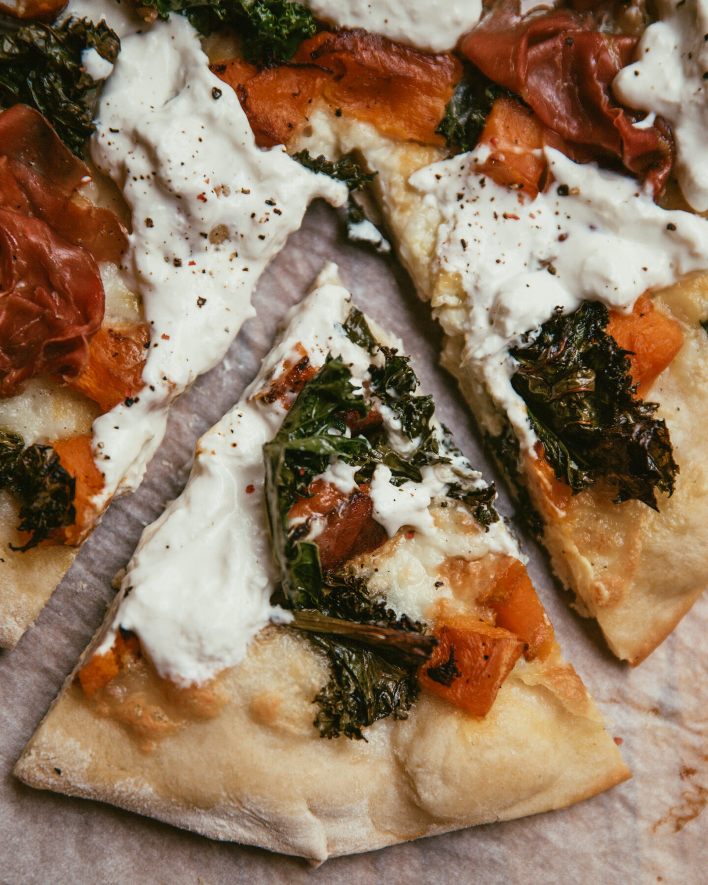 pizza au potiron et chou kale