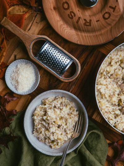 risotto aux poireaux et à la saucisse