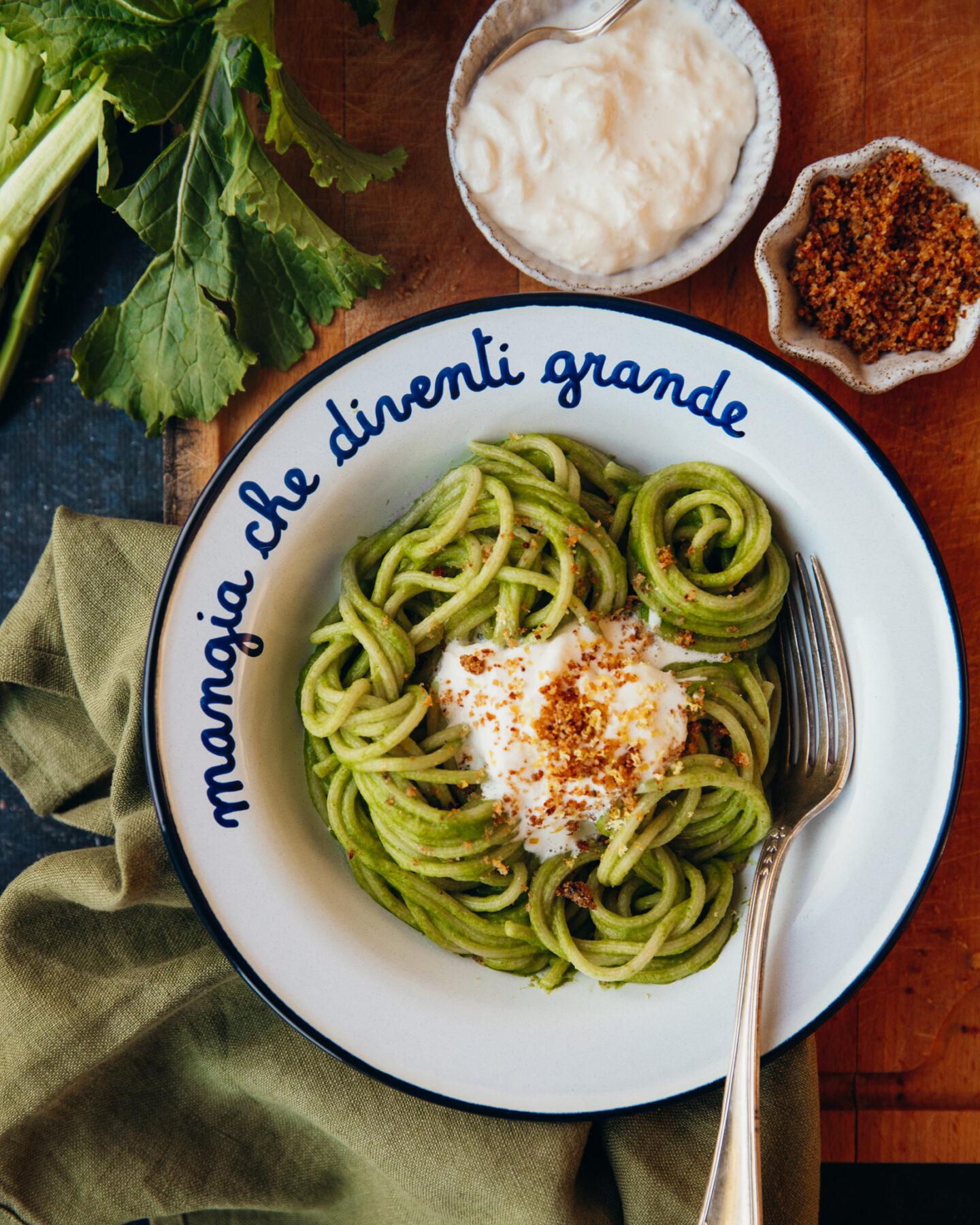 spaghetti pesto cime di rapa